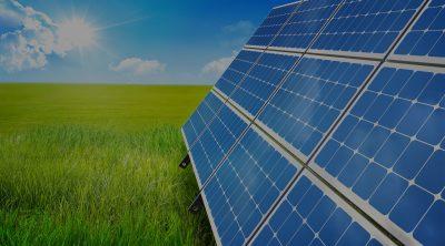 Bilden visar solpaneler som står på gräs.