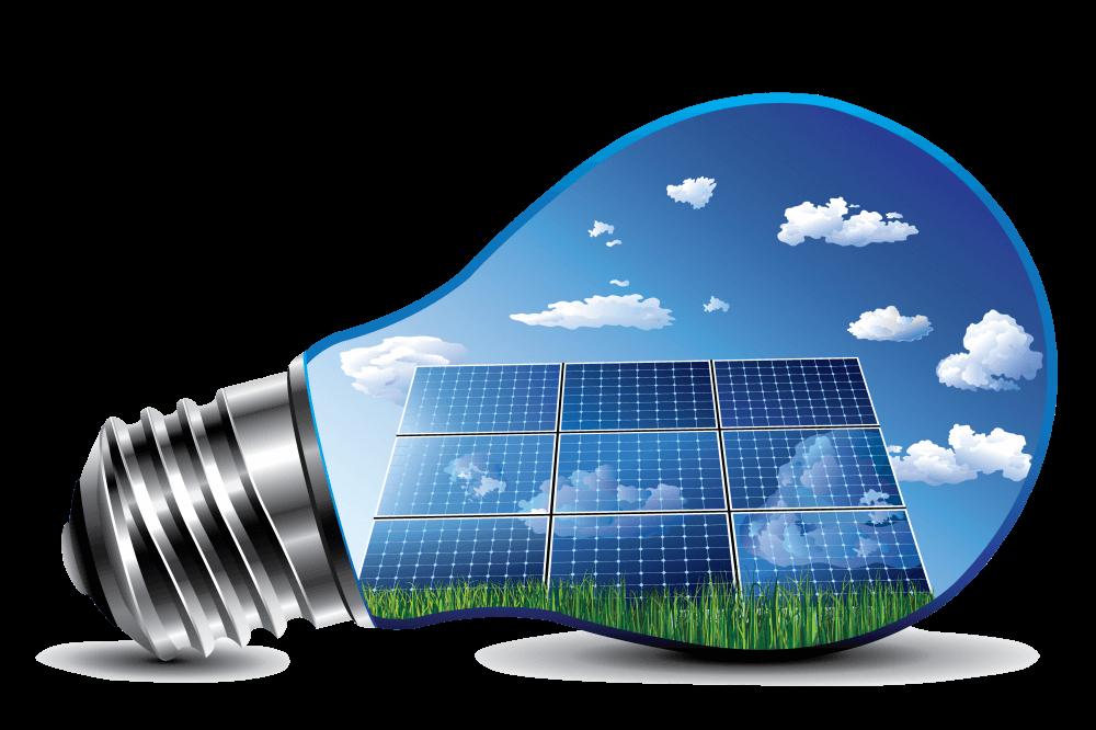 Bild på Solpaneler i glödlampa.